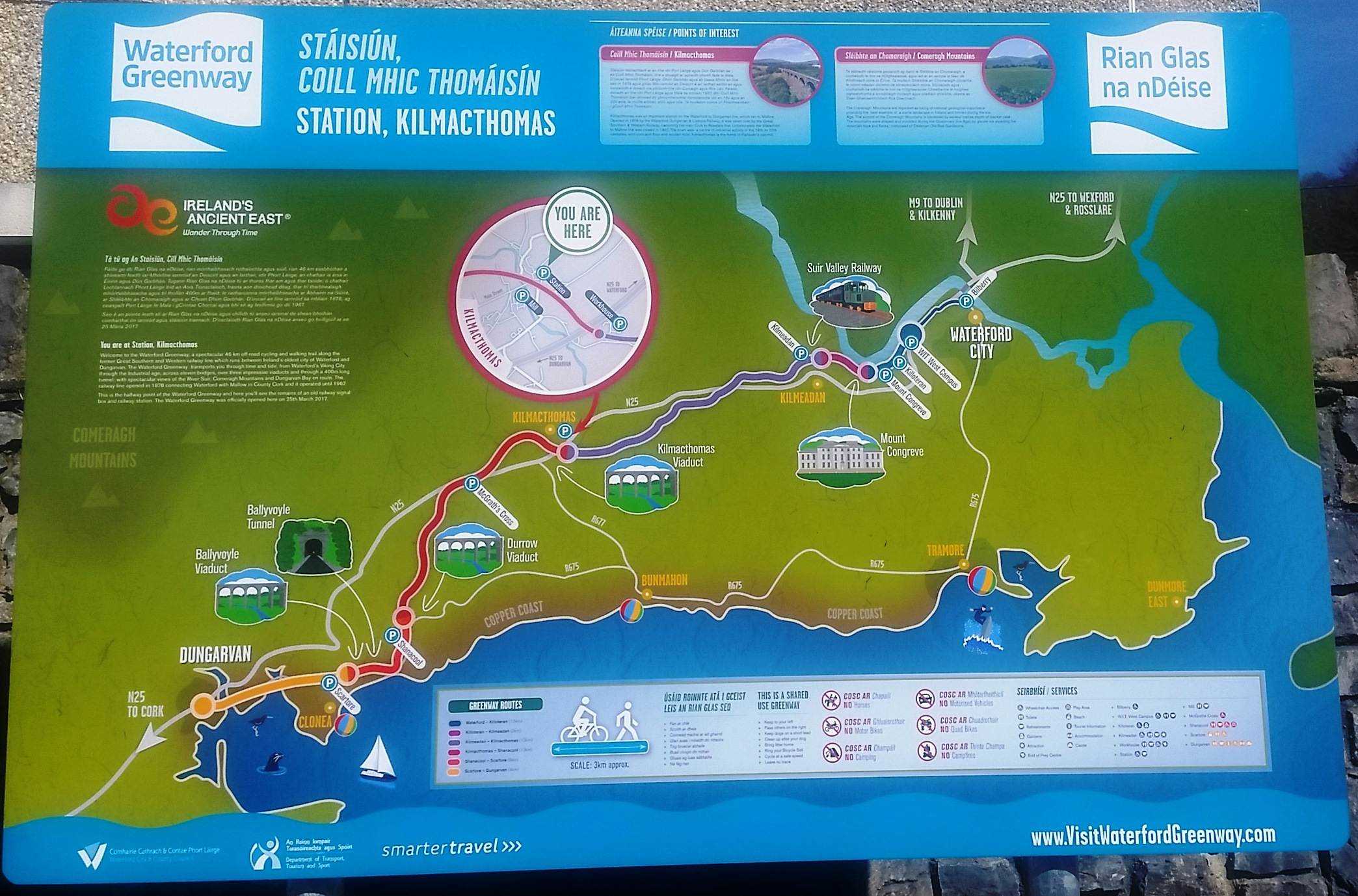 Map Of Waterford Ireland.Waterford Greenway Ireland S Longest Off Road Walking And Cycling